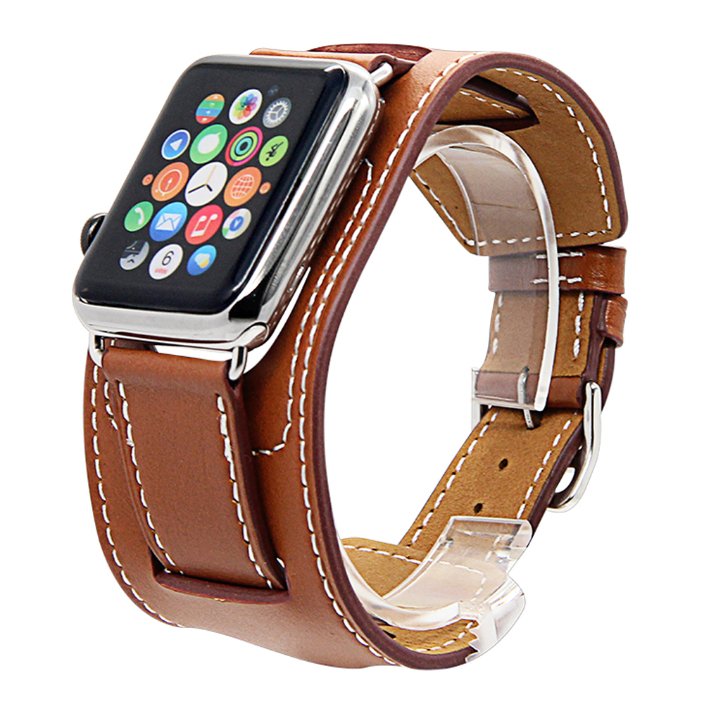Genuine Leather Watchbands Cuff Bracelet Leather Wrist Band Strap For Apple  Watch 38mm 42mm