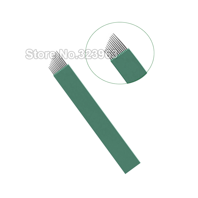 0 16mm Lamina Para Tebori for Permanent Makeup Tattoo Blade 9 12 14 15 18 21 15U 16U 12 U Green Microblading Needles Manual Pen in Tattoo Needles from Beauty Health