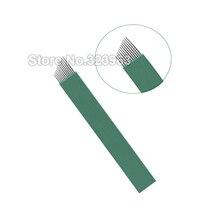 0.16mm Lamina Para Tebori for Permanent Makeup Tattoo Blade 9 12 14 15 18 21 15U 16U U Green Microblading Needles Manual Pen