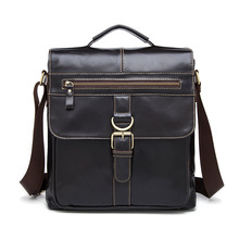 где купить Vintage Genuine Leather Male Crossbody Bag Fashion Belt Buckle Simple Flap Bag Men Cow Leather Casual Shoulder Bag Work Handbag по лучшей цене