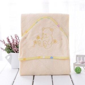 Image 3 - Sıcak toptan 100% bambu elyaf süper yumuşak ve comortable 90x90cm 345gsm bebek havlusu bebek kapşonlu havlu bebek havlu