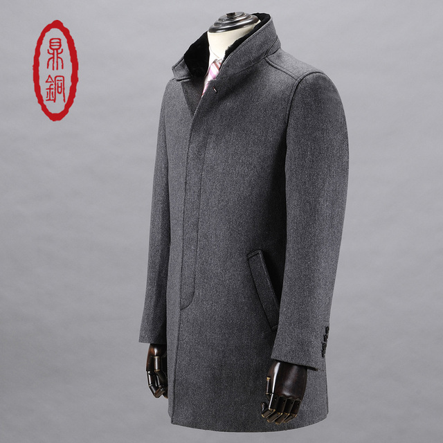 DINGTONG Men's Wool Silk Blend Trench Warm Stand Up Rabbit Fur Collar Overcoat Single Breasted Long Style Coat Fashion Grey Coat