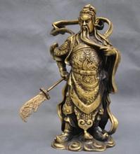 "free shipping 10"" China Warrior Soldier Guan Gong Dragon Sword Bronze Statue"
