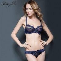 Sexy Transparent Bra Ultra Thin Lingerie Women Embroidery Transparent Plus Size Underwear Push up Brassiere