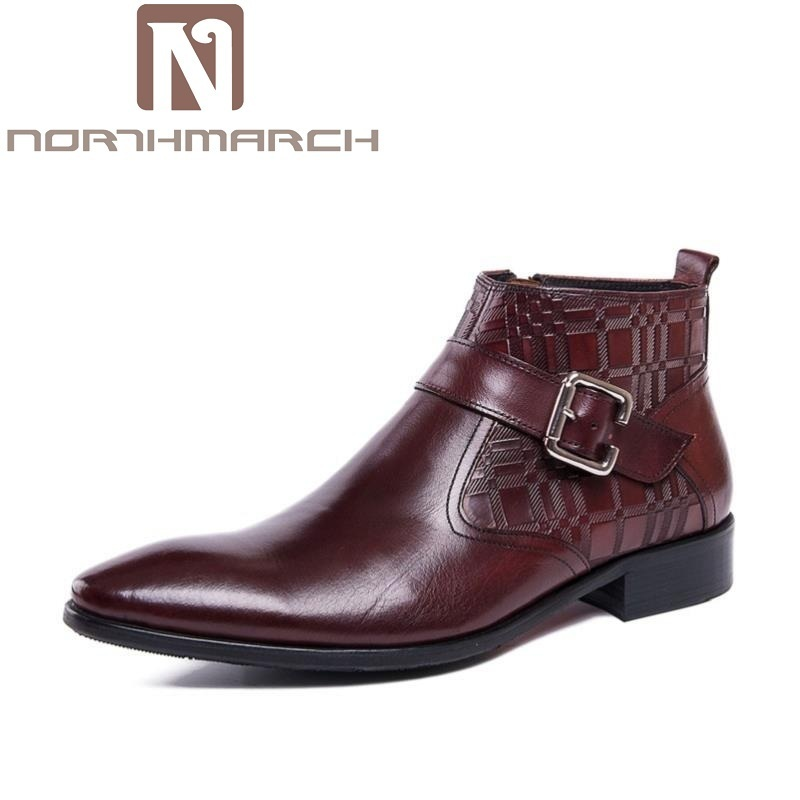 NORTHMARCH New Arrival Classic Ankle Boots Vintage Style Black Leather Side Zipper Motorcylcle Boots Men Gentlemen Shoes Winter italians gentlemen пиджак