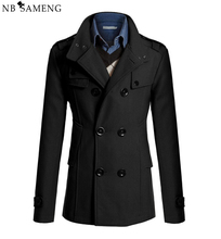New Style 2017 Winter Casual Double Breasted Coat Men Stand Collar Slim Fit Long Trench Coat Mens Wool Pea Coat Manteau Homme(China)