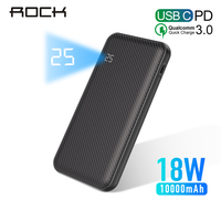 ROCK 10000mAh Power Bank Type C PD+QC 3.0 Portable Charger Powerbank For iPhone XS MAX Xiaomi Huawei External Battery Poverbank
