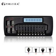 פאלו 14 חריצים LCD תצוגה חכם סוללה מטען עבור 1.2V AA AAA Ni MH Ni CD נטענת סוללה 9V Ni MH Ni Cd ליתיום סוללה