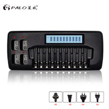 PALO 14-Slots lcd-scherm Smart battery Charger voor 1.2V AA AAA Ni-Mh Ni-CD Oplaadbare Batterij 9V Ni-Mh Ni-Cd Lithium Batterij(China)