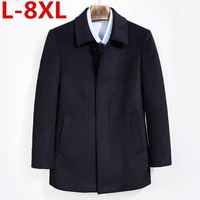 8XL 7XL 6XL Middle age men's cashmere coat men wool trench male turn down collar single breasted woolen outerwear autumn winter