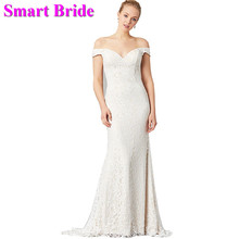 Smart Bride Off Shoulder Wedding Dresses Sexy Mermaid Lace