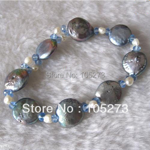 New Arriver Pearl Jewelry 8inch AA White Blue Black Mixes Color AA 4-13MM Crystal Beads Natural Freshwater Pearl Women Bracelet