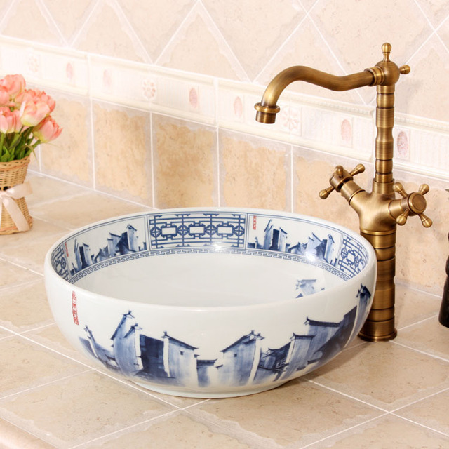 China Painting Blue And White Ceramic Painting Art Ceramic Wash Basin  Bathroom Sink Counter Top Flower