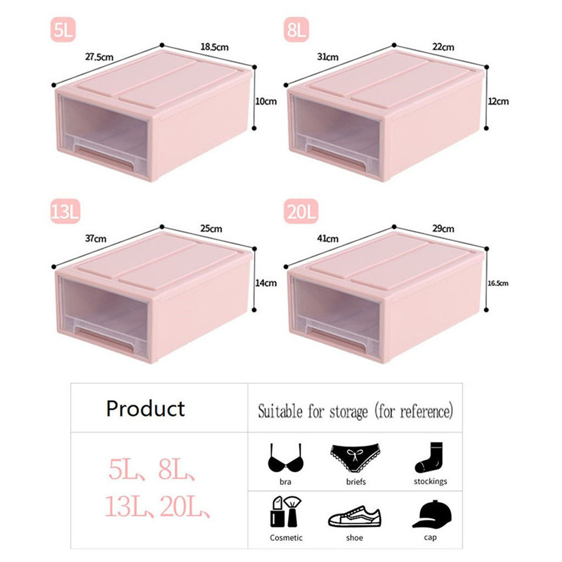 Image 3 - Storage Container Drawer Closet Organizer Plastic Muji Style Minimalist Stackable Organizer Cloest Plastic Storage Box-in Storage Drawers from Home & Garden