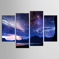 4 Sets Of Meteor Night Wall Art For Wall Decor Home Decoration Picture Paint On Canvas