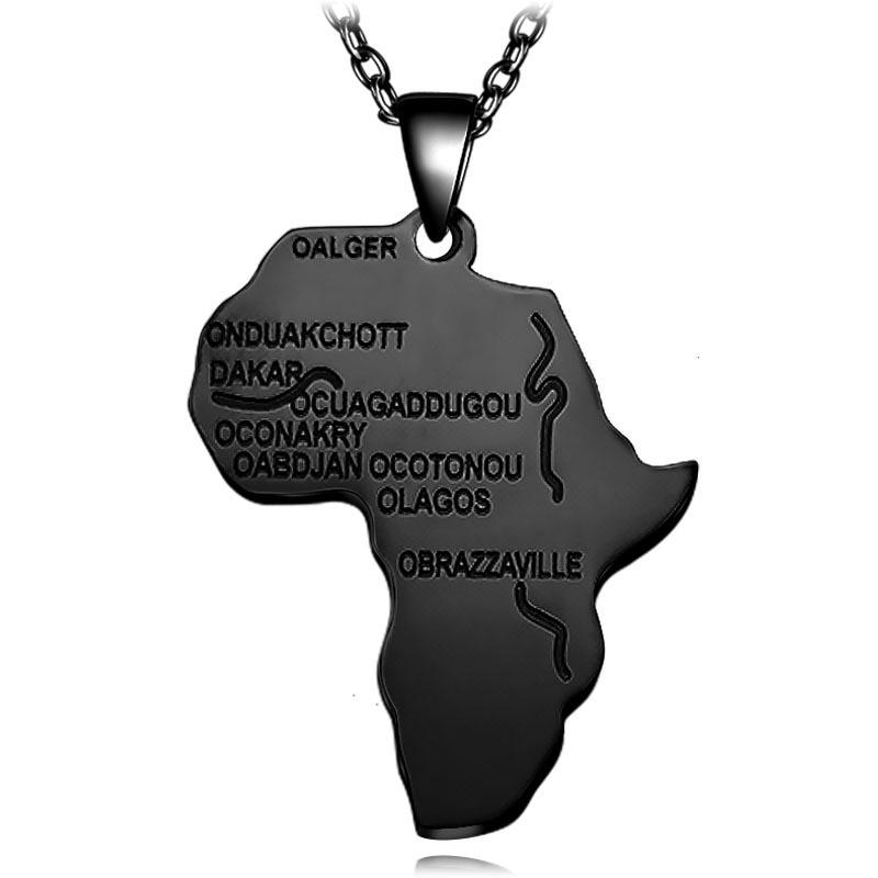 4 цвета Модная Африканская Карта Форма кулон ожерелье Женская мода ювелирные изделия персонализированный сплав металлическая серебряная с золотом цепь ожерелье s - Окраска металла: N026-3