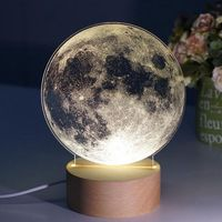 LukLoy USB Dimmable Creativity Nightlight Acrylic Milky Way Planet Lamp with Led For Table Bedside Christmas Birthday Gift