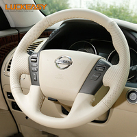 Beige Genuine Leather Hand stitched Car Steering Wheel Cover for Nissan Patrol y62