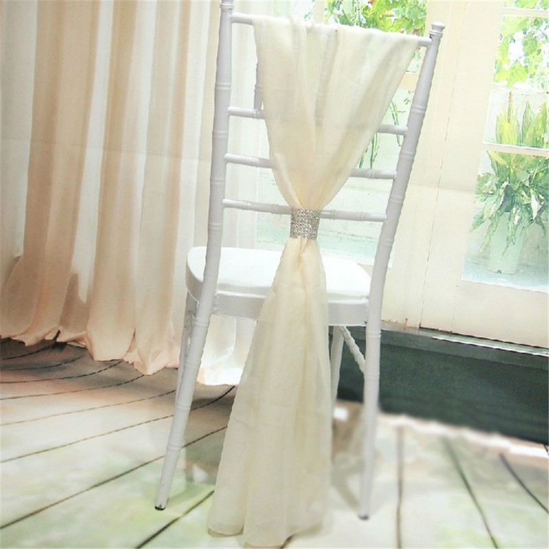 100 Piece Free Shipping White Chiffon Chiavari Chair Sash Chiavari with Diamond for Party Wedding Decor Hotel Banquet Supplies in Party DIY Decorations from Home Garden