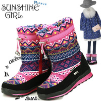 M MNUN 2016 New Winter Shoes For Children Floral Big High Quality Children S Winter Shoes