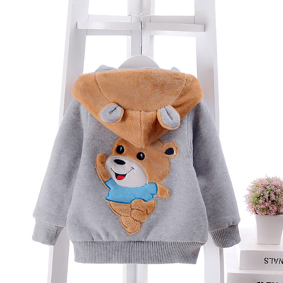 1-4Y 2016 Baby Girls Boy Bear Winter Warm Jacket and Coat for Kids Toddler Hooded Cute Cartoon Outerwear Clothes 3 colors