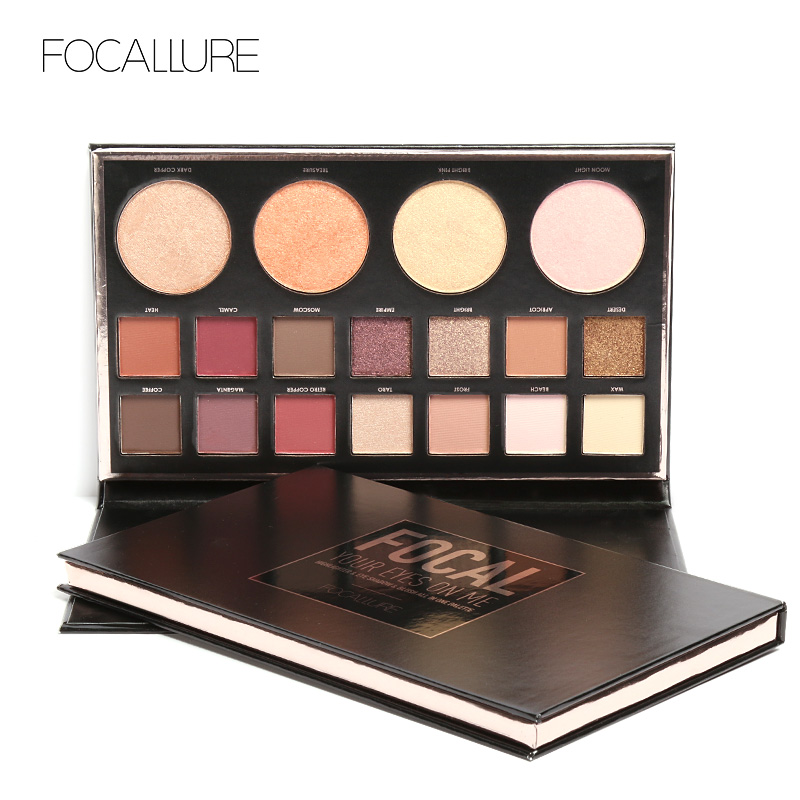 Focallure New Highly Pigmented Glitter Eye Shadow Flash Shimmer Eyeshadow With Bush Highlighter Palette Face Makeup Tools Strengthening Waist And Sinews Eye Shadow