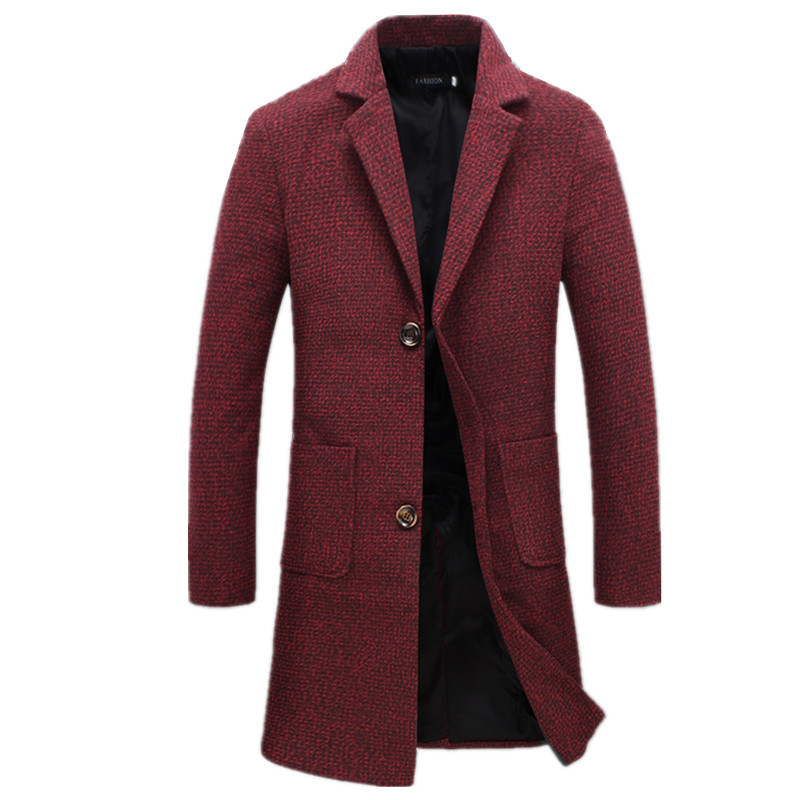 2018 Winter High Quality Business Casual Slim Fits Long   Trench   Coat / Men Turn-down Collar Single Breasted Woolen Cloth Coat