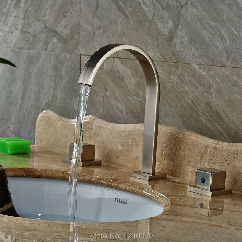 ФОТО Newly 3Pcs Bathroom Sink Faucet Bssin Mixer Tap Three Holes Nickel Brushed Cold&Hot Water Faucet Dual Handles