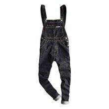 Hot 2019 Men's Modis Oversized Denim Workwear Men's Denim Bib Pants Men's Slim Pants Suspenders Size S-5XL Free shipping стоимость