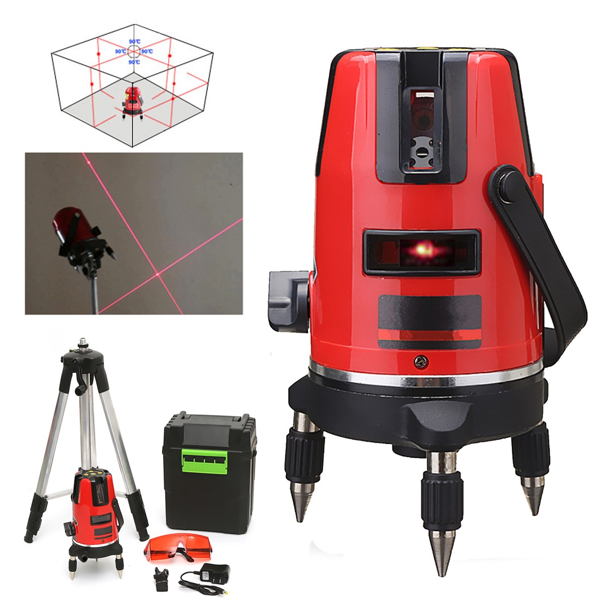 New 5 Line 6 Point Cross Line Red Automatic Self Leveling 360 degree Rotary Laser Level Meter Measure + Tripod