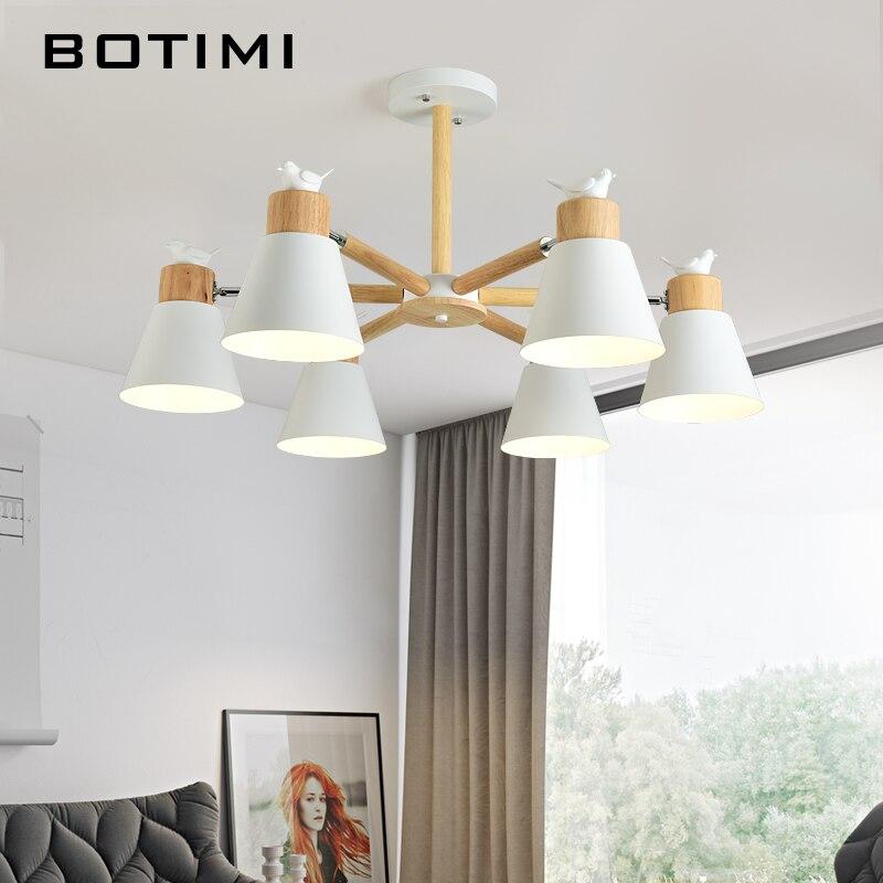 BOTIMI New Arrival LED Chandelier For Living Room White Wooden Lustre Black Metal Chandelier Modern Lustres Birds E27 Lustres