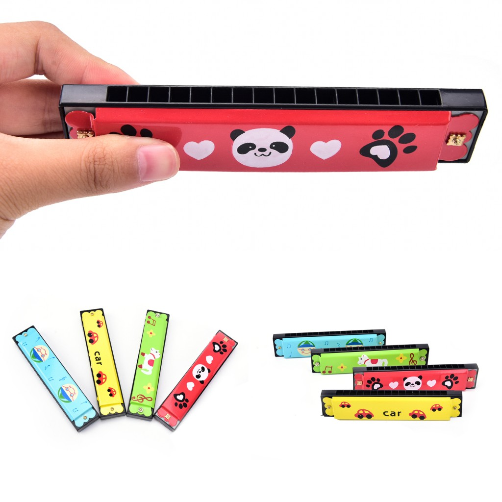 Strict Kids Wood Plastic Harmonica Fun Double Row 16 Holes Harmonica Toy Baby Early Educational Development Musical Toy Learning & Education