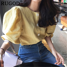 RUGOD Vintage solid women blouse Fashion single breasted office ladies shirts Korean Elegant Puff sleve yellow tops and blouses