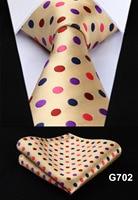 "Polka Dot Check Plaid Floral 3.4"" Silk Jacquard Party Wedding Woven Men Tie Fashion Designers Necktie Handkerchief Set #G7  3"