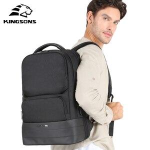 Image 5 - Kingsons Men Backpack 2.0 USB Recharging Water Repellent Laptop Backpacks Men Business Fashion Shoulder Bags Black Technology