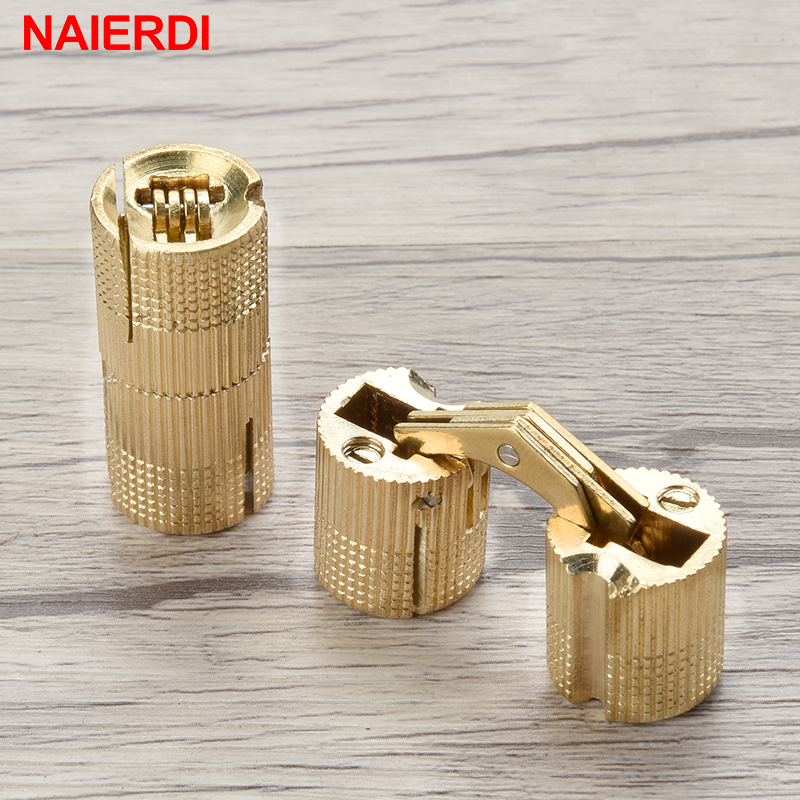 NAIERDI 8-18mm Copper Barrel Hinges Concealed Cabinet Hidden Invisible Brass Door Hinges For Furniture Hardware Gift Box