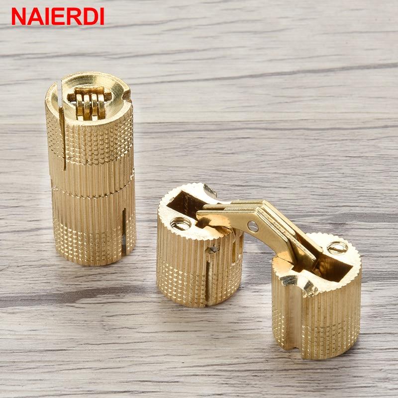 NAIERDI 8-18mm Copper Barrel Dobradiças Escondidas Do Armário Escondido Invisível Dobradiças Da Porta de Bronze Para Móveis Hardware Caixa de Presente
