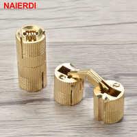 Bisagras de barril de cobre NAIERDI 8-18mm gabinete oculto bisagras de puerta de latón invisibles ocultas para muebles caja de regalo