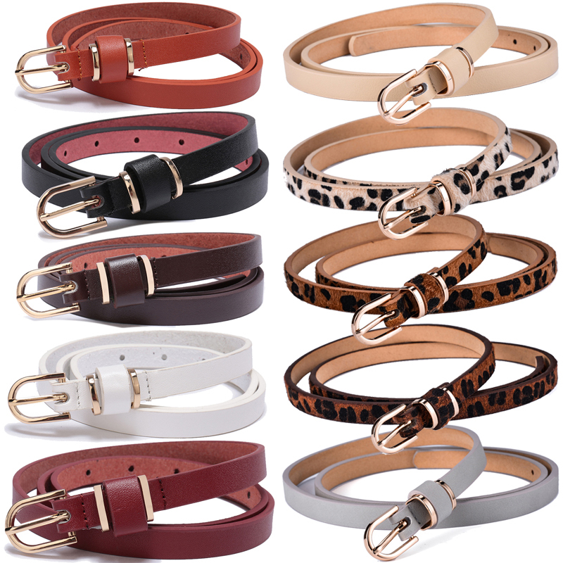 Women's Skinny Leather Belt Solid Color Waist or Hips Ornament 10 Sizes 1.5cm Wide Leopard Waistband Cummerbund Ladies and Girls