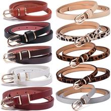 Women's Skinny Leather Belt Solid Color Waist or Hips Ornament 10 Sizes 1.5cm Wide Leopard Waistband Cummerbund Ladies and Girls недорого