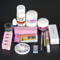 Pro Clipper Acrylic Powder Liquid Glitter Brush Glue Nail Art Tips Tool Kit Set