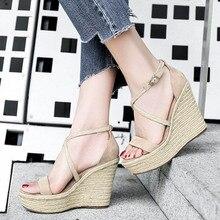 Модные женские сандалии на платформе цветы Клин Обувь на высоком каблуке гладиатор Весенне-летняя женская обувь женщина золото серебро лучший# Y0745666F