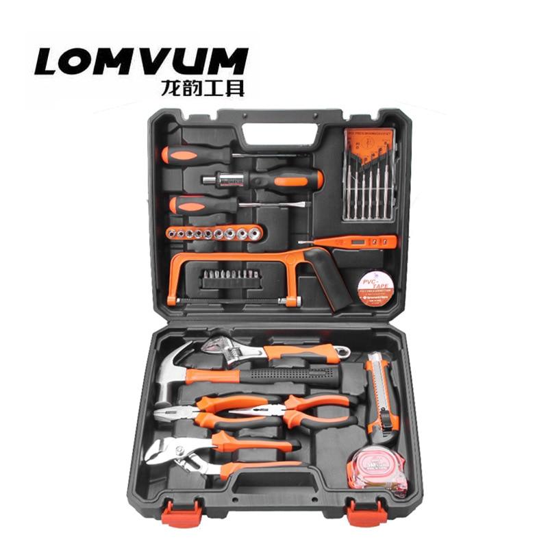 LOMVUM 39pcs/set Hand Tools Set for Car Repair Wrench screwdriver hammer knife tape measure Set Socket pliers Set Mechanic Tools