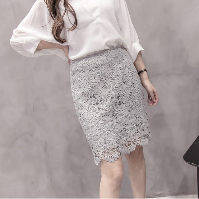Nouveau Printemps Jupe Femme Haute Dentelle Taille Femmes Blanc 76gIbymYvf