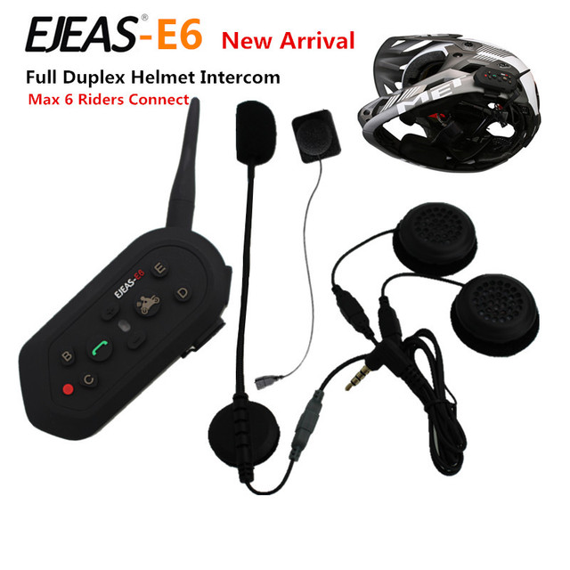 1 UNIDS E6 Full Duplex Inalámbrica Intercomunicador Del Casco BT Interphone 1200 M Bluetooth de La Motocicleta Cascos Auriculares Walkie Talkie para 6 pilotos