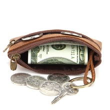 Leather zip coin purse creative leather bag car key credit card holder