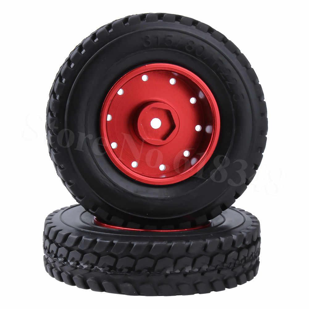 2 Pcs untuk Tembaga Hellenic 1/14 RC Tractor Trailer Ban dengan Aluminium Roda Velg