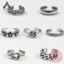 Women Unique Adjustable Opening 925 Sterling Silver Finger Ring Retro Carved Toe Ring Beach Foot Jewelry 925 sterling silver opening snake retro thai silver ring