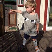 Bobo Choses Eye Pattern Stylish Kids T-shirt Summer Children Clothes Girls Boys Short Sleeve Tee