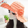 Складной пляж путешествия шляпа женщины шляпа солнца летом цветы анти-уф шляпа фуражка вводная часть роковой été